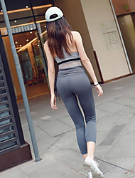 cheap -Women's Fold Over Waist Yoga Pants - Dark Gray Sports Solid Color Spandex 3/4 Tights Fitness, Gym Activewear Compression, Push Up High Elasticity