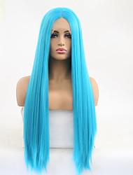 Недорогие -Синтетические кружевные передние парики Шелковисто-прямые Стиль Средняя часть Лента спереди Парик Небесно-голубой Искусственные волосы 24 дюймовый Жен. Регулируется Жаропрочная Для вечеринок Синий