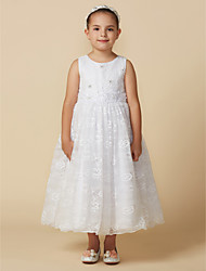cheap -Princess Ankle Length Flower Girl Dress - Lace Sleeveless Jewel Neck with Beading / Appliques / Buttons by LAN TING BRIDE® / Engagement Party