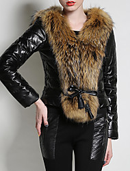Недорогие -Жен. Пальто с мехом Уличный стиль / Изысканный - Контрастных цветов Меховая оторочка
