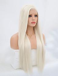 Недорогие -Синтетические кружевные передние парики Прямой Стиль Боковая часть Лента спереди Парик Блондинка Платиновый блондин Искусственные волосы 24-26 дюймовый Жен. Регулируется Жаропрочная Блондинка Парик