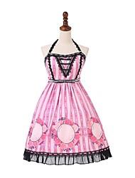 baratos -Doce Casual Lolita Dress Princesa Rococó Feminino Vestidos Festa a Fantasia Baile de Máscara Saia de Saltador Cosplay fúcsia Sem Manga Midi Trajes da Noite das Bruxas