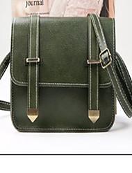 baratos -Mulheres Bolsas PU Bolsa de Ombro Cor Única Verde Escuro / Vinho / Khaki