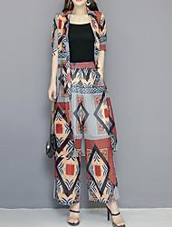 abordables -Mujer Chic de Calle / Sofisticado Conjunto - Geométrico / A Cuadros Pantalón