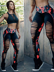 cheap -Women's Patchwork Yoga Pants - Red black Sports Color Block Spandex Leggings Running, Fitness, Dance Activewear Anatomic Design, Breathable, Compression Stretchy