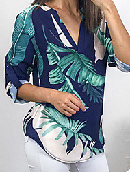 Недорогие -Жен. Рубашка Глубокий V-образный вырез Геометрический принт