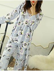 abordables -Mujer Escote en V Profunda Traje Pijamas Floral