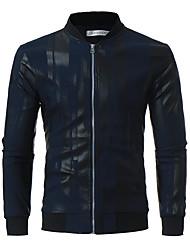 cheap -Men's Plus Size Cotton Jacket - Striped Stand / Long Sleeve