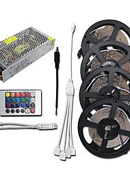billige -HKV 4x5M Lyssæt 1200 lysdioder 3528 SMD RGB Chippable / Koblingsbar / Selvklæbende 100-240 V 1set