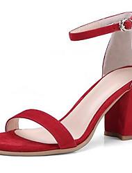 povoljno -Žene Cipele Brušena koža Ljeto Udobne cipele Sandale Kockasta potpetica Crn / Crvena