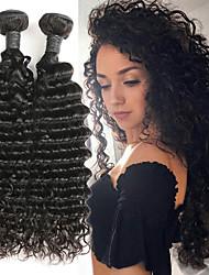 Недорогие -2 Связки Перуанские волосы Глубокий курчавый Натуральные волосы Накладки из натуральных волос 8-26 дюймовый Нейтральный Ткет человеческих волос Лучшее качество / Новое поступление / Горячая распродажа