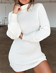 baratos -Mulheres Básico Tricô Vestido Sólido Gola Alta Mini Preto / Branco