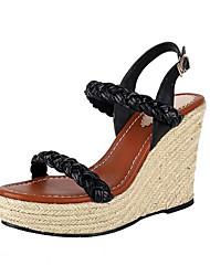 baratos -Mulheres Sapatos Camurça Verão Conforto Sandálias Salto Plataforma Preto
