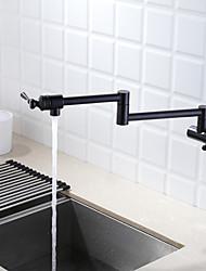 Недорогие -кухонный смеситель - Две ручки одно отверстие Окрашенные отделки Горшок Filler На стену Современный Kitchen Taps / Латунь