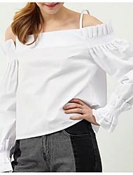 economico -T-shirt Per donna Per uscire Essenziale Sleeve Lantern A pieghe / Lacci / Collage, Tinta unita Senza bretelline - Cotone / Sexy / Taglia piccola