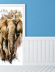 abordables -Pegatinas de puerta - Calcomanías 3D para Pared / Pegatinas de pared de animales Animales / Escénico Sala de estar / Dormitorio