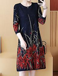 Недорогие -Жен. Большие размеры Тонкие Оболочка Платье До колена / Весна / Осень