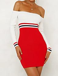 abordables -Femme Sortie Sexy Mini Slim Moulante Robe Bloc de Couleur Epaules Dénudées Printemps Automne Rouge M L XL Coton Manches Longues