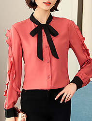 cheap -Women's Basic / Street chic Blouse - Color Block Ruffle / Lace up