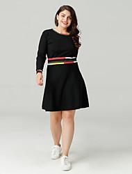 cheap -Sweet Curve Women's Basic A Line Dress - Color Block Print