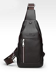 Недорогие -Муж. Мешки Кожа Слинг сумки на ремне Молнии Сплошной цвет Черный / Коричневый