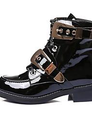 Недорогие -Жен. Ботильоны Наппа Leather Зима Ботинки На низком каблуке Заостренный носок Ботинки Цветы из сатина Черный