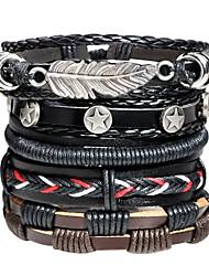 Недорогие -Муж. Старинный Плетение Кожаные браслеты Loom браслет - Кожа В форме листа, Звезда Массивный, Мода Браслеты Черный Назначение Для улицы Бар
