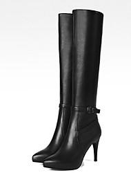 billiga -Dam Fashion Boots Nappaskinn Vinter Stövlar Stilettklack Knähöga stövlar Svart