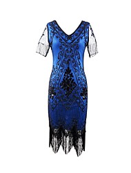 cheap -The Great Gatsby Vintage / 1920s Costume Women's Flapper Dress Blue / Golden / Black / Red Vintage Cosplay Polyester Short Sleeve Butterfly Sleeve Halloween Costumes / Sequins