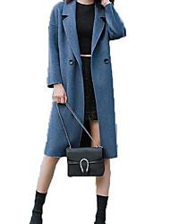 Недорогие -Жен. Повседневные Классический Наступила зима Длинная Пальто, Однотонный Отложной Длинный рукав Полиэстер Синий S / M