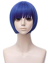 abordables -Perruques de cosplay / Perruque Synthétique Droit Coupe Dégradée Cheveux Synthétiques 12 pouce Animé / Cosplay Bleu Perruque Homme Court Sans bonnet Bleu