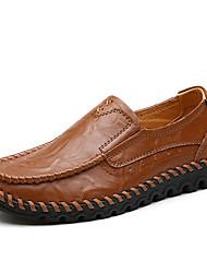 baratos -Mulheres Sapatos Confortáveis Pele Napa Outono & inverno Formais Mocassins e Slip-Ons Sem Salto Ponta Redonda Preto / Castanho Claro / Castanho Escuro