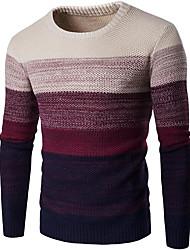 abordables -Homme Basique Manches Longues Mince Pullover - Couleur Pleine / Bloc de Couleur, Mosaïque Col Arrondi