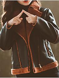 Недорогие -Дети Девочки Классический / Уличный стиль Повседневные / Спорт Однотонный / Пэчворк Длинный рукав Обычная Полиуретановая / Полиэстер Куртка / пальто Зеленый