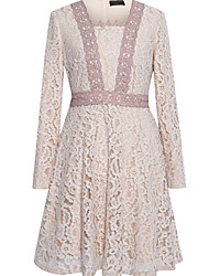 cheap -Women's Basic Chiffon Dress - Solid Colored Lace Trims