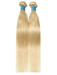 baratos -2 pacotes Cabelo Brasileiro Liso 10A Cabelo Virgem Cabelo Natural Remy Precolored Tece cabelo 10-26 polegada Loiro Tramas de cabelo humano Fabrico à Máquina Melhor qualidade 100% Virgem Extensões de