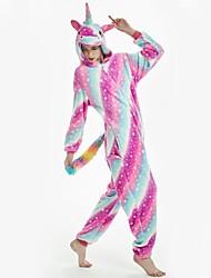 abordables -Adulte Pyjamas Kigurumi Unicorn Combinaison de Pyjamas Flanelle Arc-en-ciel Cosplay Pour Homme et Femme Pyjamas Animale Dessin animé Fête / Célébration Les costumes
