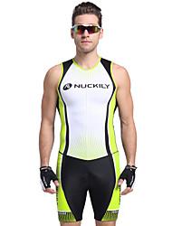 economico -Nuckily Per uomo Manica corta Tuta da triathlon - Verde Geometrico Bicicletta Design anatomico, Resistente ai raggi UV, Traspirante Poliestere, Elastene Strisce / Elasticizzato / Cerniere SBS