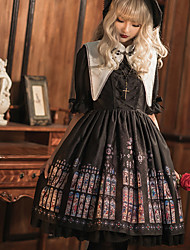cheap -Gothic Lolita Dress Vintage Gothic Lolita Female Dress Cosplay Black Poet Sleeve Half Sleeve Midi Halloween Costumes