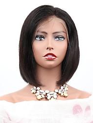 Недорогие -Необработанные натуральные волосы Лента спереди Парик Стрижка боб Короткий Боб Средняя часть стиль Бразильские волосы Естественный прямой Парик 130% Плотность волос / с детскими волосами