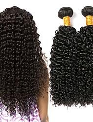 Недорогие -3 Связки Малазийские волосы Вьетнамские волосы Kinky Curly 8A Натуральные волосы Удлинитель Пучок волос Накладки из натуральных волос 8-28 дюймовый Естественный цвет Ткет человеческих волос