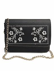お買い得  -女性用 バッグ PU ショルダーバッグ 刺繍 フラワープリント Brown / Dark Brown / カーキ色
