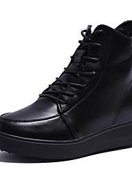 Недорогие -Жен. Армейские ботинки Полиуретан Осень На каждый день Ботинки На низком каблуке Сапоги до середины икры Черный