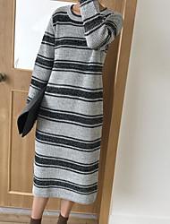 baratos -Mulheres Tricô Vestido Listrado Médio