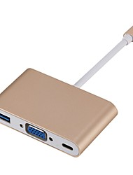 Недорогие -USB 3.1 Type C Кабель, USB 3.1 Type C к VGA / USB 3.0 / USB 3.1 Type C Кабель Male - Female 1080P Нормальный (20-79 см)