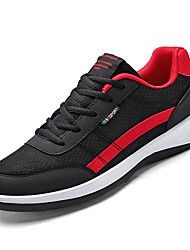 baratos -Homens Sapatos Confortáveis Com Transparência / Couro Ecológico Outono Esportivo Tênis Corrida Não escorregar Estampa Colorida Preto / Cinzento / Marron