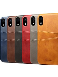 baratos -Capinha Para Apple iPhone XS / iPhone XR Porta-Cartão / Antichoque Capa traseira Sólido Rígida PU Leather para iPhone XS / iPhone XR / iPhone XS Max