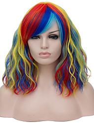 Недорогие -Wig Accessories Кудрявый Красный Средняя часть Радужный Искусственные волосы 16 дюймовый Жен. Кейс / Модный дизайн Красный / Блондинка Парик Короткие Без шапочки-основы