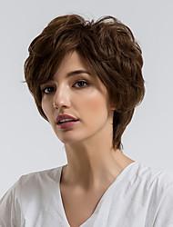 Недорогие -Человеческие волосы без парики Натуральные волосы Кудрявый Стрижка под мальчика Природные волосы Темно-коричневый Без шапочки-основы Парик Жен. На каждый день