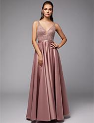 preiswerte -A-Linie V-Ausschnitt Boden-Länge Satin / Tüll Strahlend & Funkelnd Formeller Abend Kleid mit Perlenstickerei durch TS Couture®